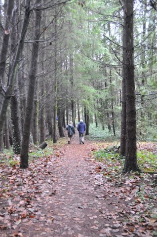 Walkers out for a winter stroll along Sandown Trail, lower reaches of Capilano River.