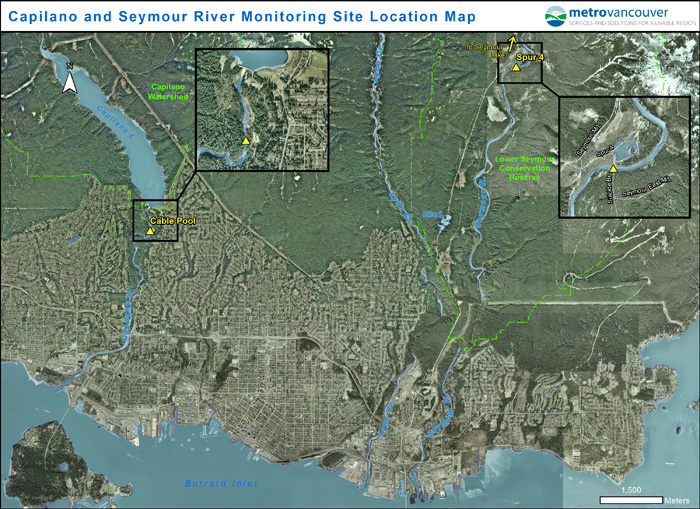 Capilano and Seymour River Monitoring Site Location Map